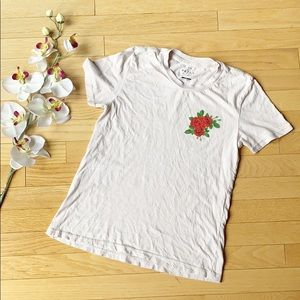 PACSUN cream shirt with rose shortsleeve size XS